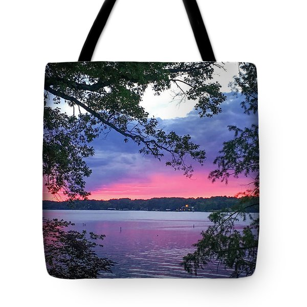 Sunset Over Lake Cherokee Tote Bag