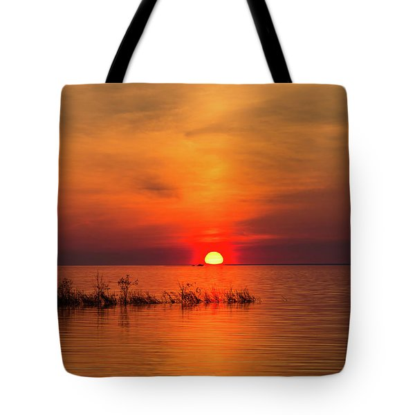 Sunset Over Lake Michigan Tote Bag