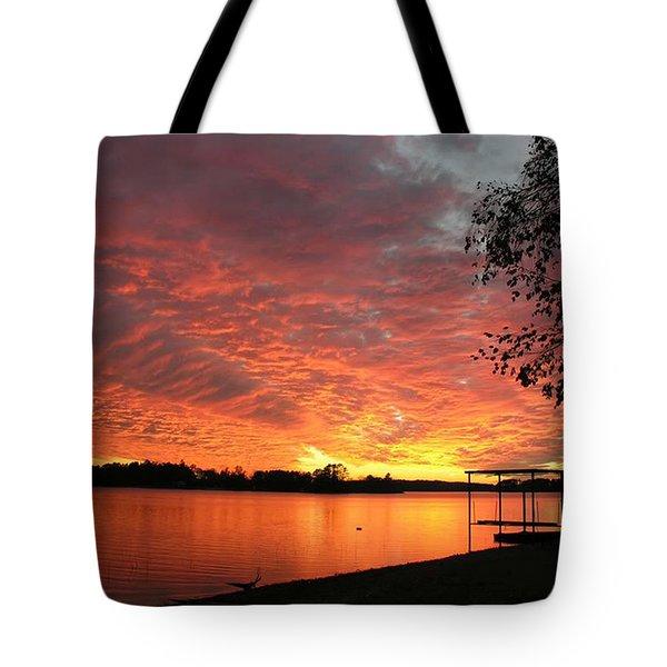 Sunset Over Lake Murray Tote Bag