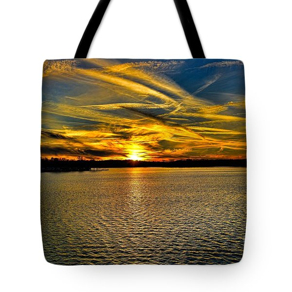 Sunset Over Lake Palestine Tote Bag