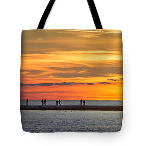 Tote Bag featuring the photograph Sunset Over Ludington Panoramic by Adam Romanowicz