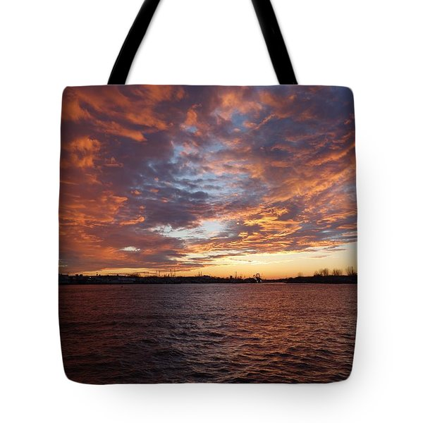 Tote Bag featuring the photograph Sunset Over Manasquan Inlet by Melinda Saminski