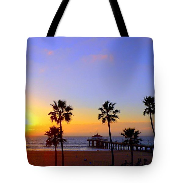 Sunset Over Manhattan Beach Tote Bag by Jeff Lowe
