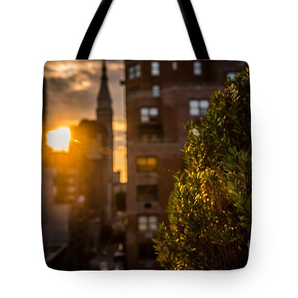 Sunset Over Manhattan New York City Tote Bag