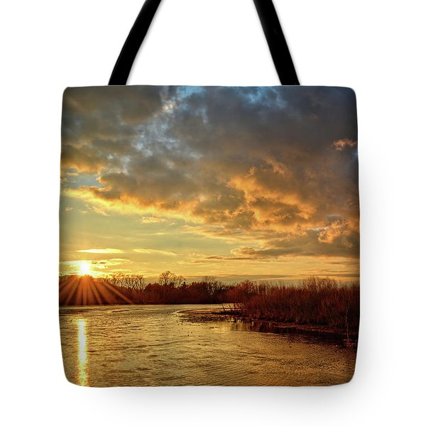 Sunset Over Marsh Tote Bag
