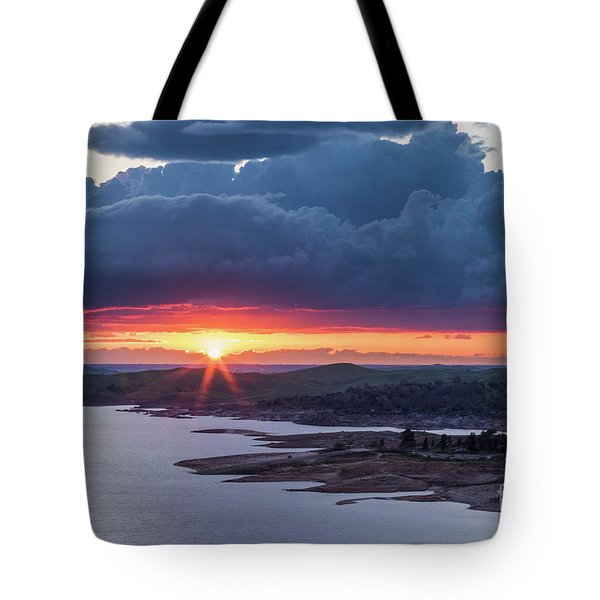 Tote Bag featuring the photograph Sunset Over Millerton Lake  by Vincent Bonafede