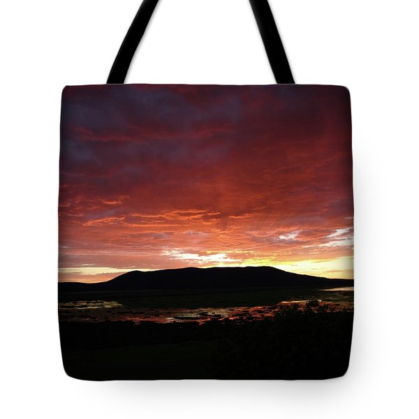 Tote Bag featuring the painting Sunset Over Mormon Lake by Dennis Ciscel