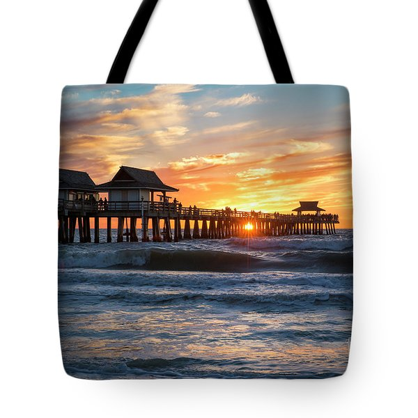 Tote Bag featuring the photograph Sunset Over Naples Pier by Brian Jannsen