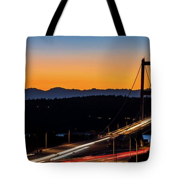 Sunset Over Narrrows Bridge Panorama Tote Bag