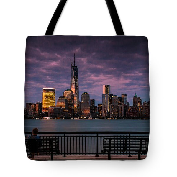 Tote Bag featuring the photograph Sunset Over New World Trade Center New York City by Ranjay Mitra