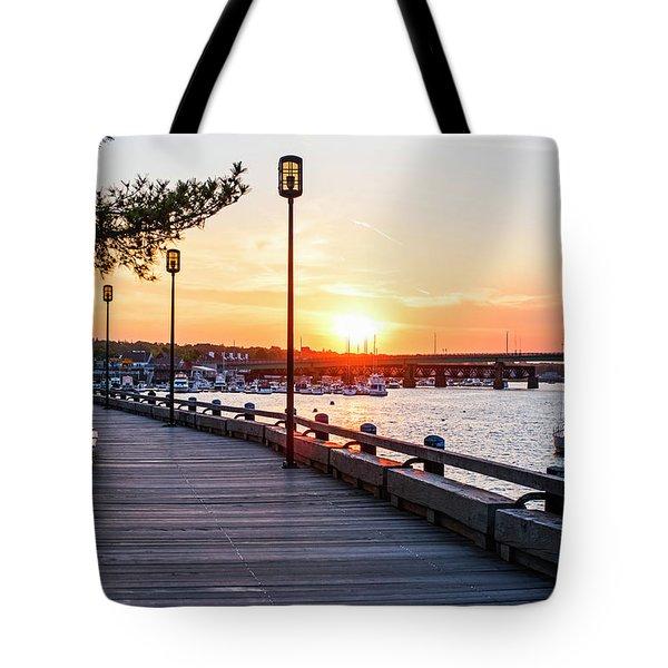 Sunset Over Newburyport Ma Merrimack River Newburyport Turnpike Tote Bag