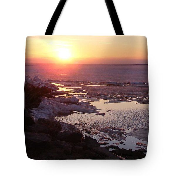 Sunset Over Oneida Lake - Vertical Tote Bag
