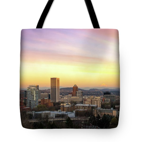 Sunset Over Portland Cityscape And Mt Hood Tote Bag