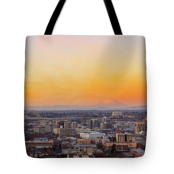 Sunset Over Portland Cityscape And Mt Saint Helens Tote Bag
