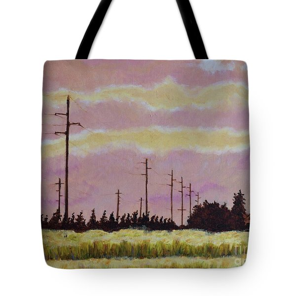Sunset Over Powerlines Tote Bag
