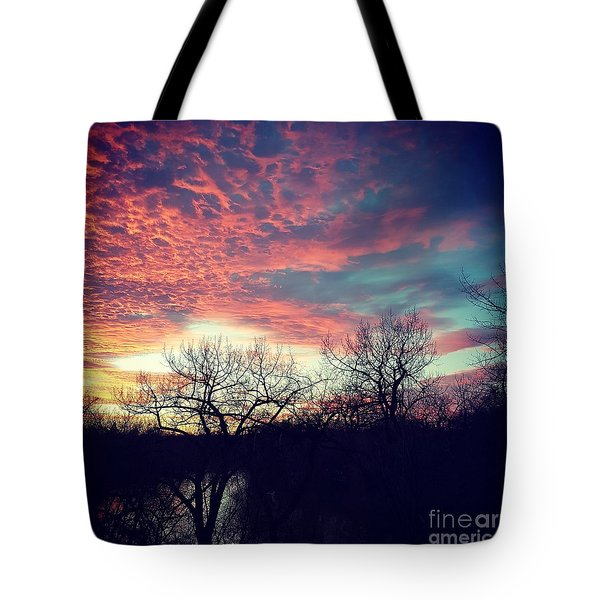 Sunset Over River Tote Bag