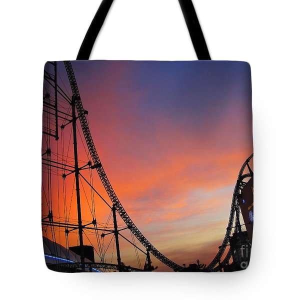 Sunset Over Roller Coaster Tote Bag