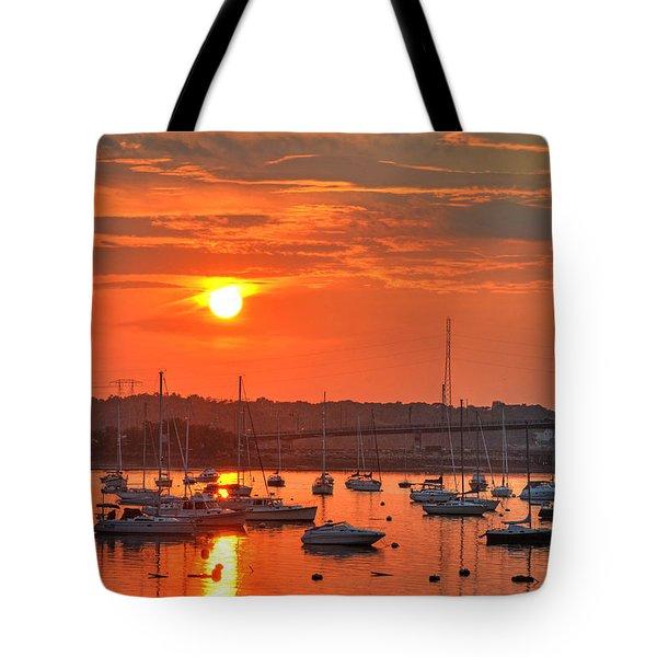 Sunset Over Salem Harbor Salem Beverly Bridge 2 Tote Bag