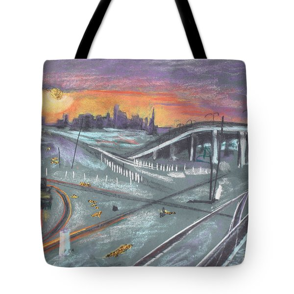 Sunset Over San Francisco And Oakland Train Tracks Tote Bag by Asha Carolyn Young