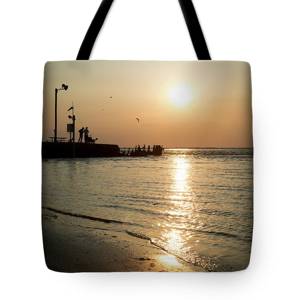 Tote Bag featuring the photograph Sunset Over San Luis Pass by Ray Devlin