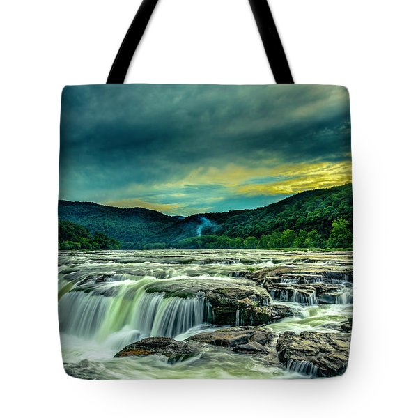 Sunset Over Sandstone Falls Tote Bag