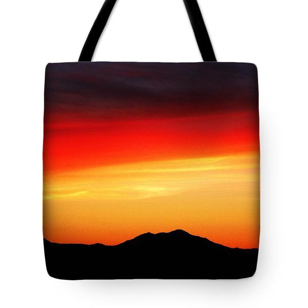 Sunset Over Santa Fe Mountains Tote Bag