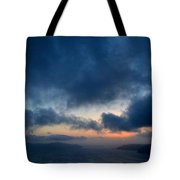 Sunset Over Santorini  Tote Bag