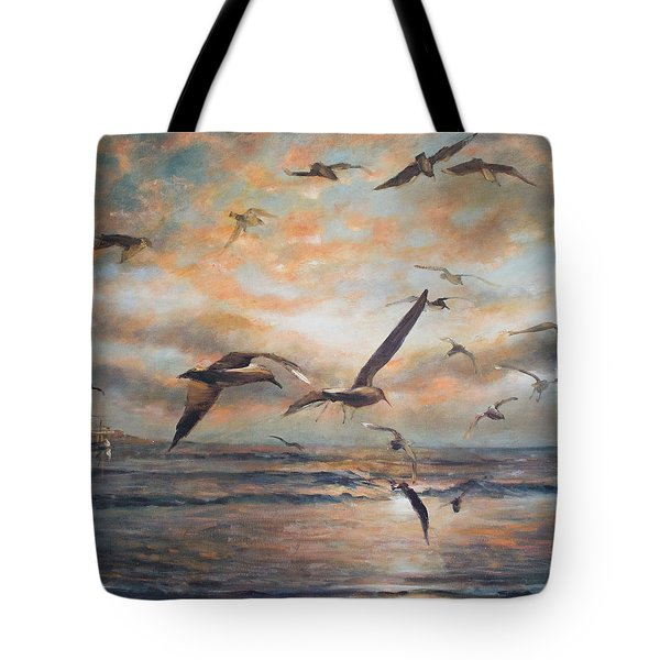 Sunset Over The Sea Tote Bag
