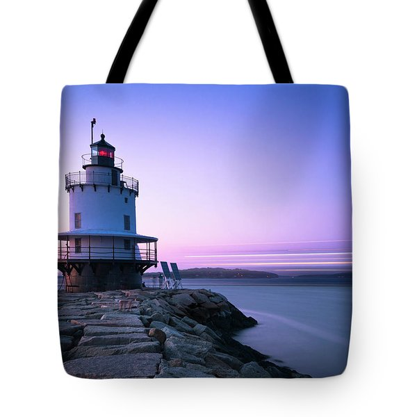 Sunset Over Spring Breakwater Lighthouse In South Maine Tote Bag