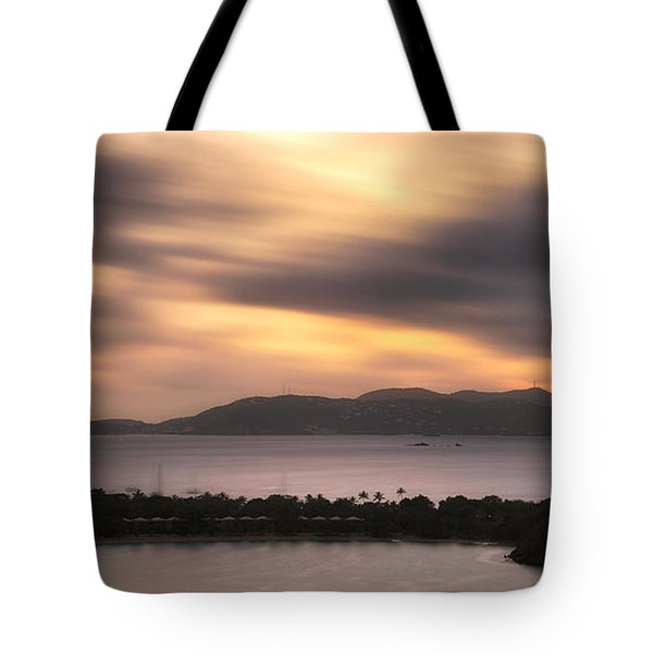 Tote Bag featuring the photograph Sunset Over St. John And St. Thomas Panoramic by Adam Romanowicz