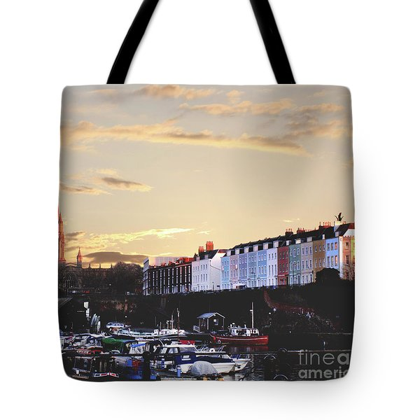 Tote Bag featuring the photograph Sunset Over St Mary Redcliffe Bristol by Terri Waters