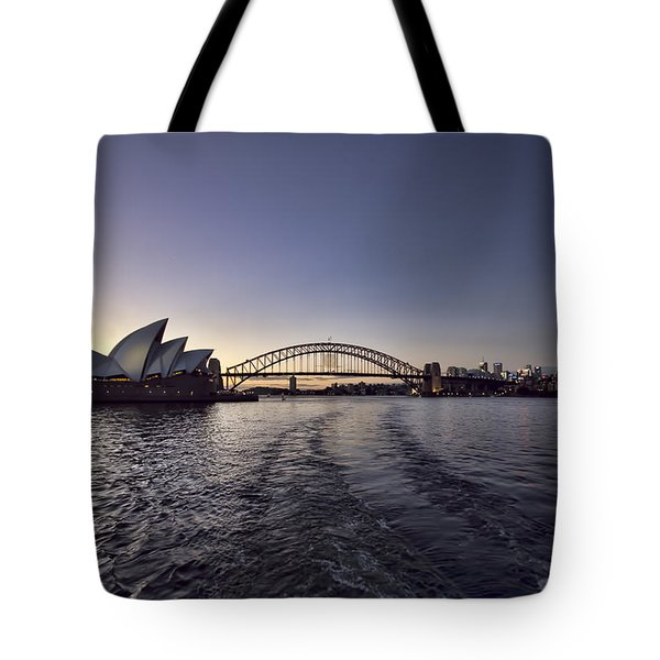 Sunset Over Sydney Harbor Bridge And Sydney Opera House Tote Bag by Douglas Barnard