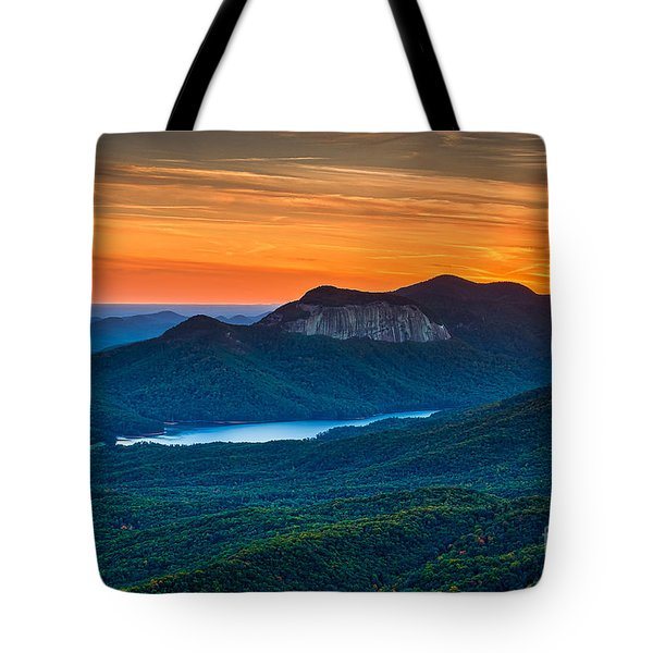 Sunset Over Table Rock From Caesars Head State Park South Carolina Tote Bag by T Lowry Wilson