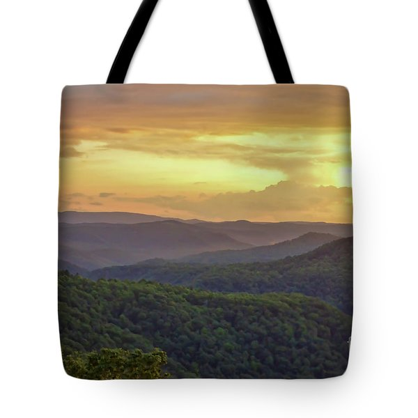 Tote Bag featuring the photograph Sunset Over The Bluestone Gorge - Pipestem State Park by Kerri Farley