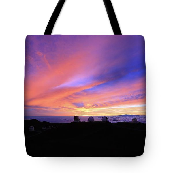 Sunset Over The Clouds Tote Bag