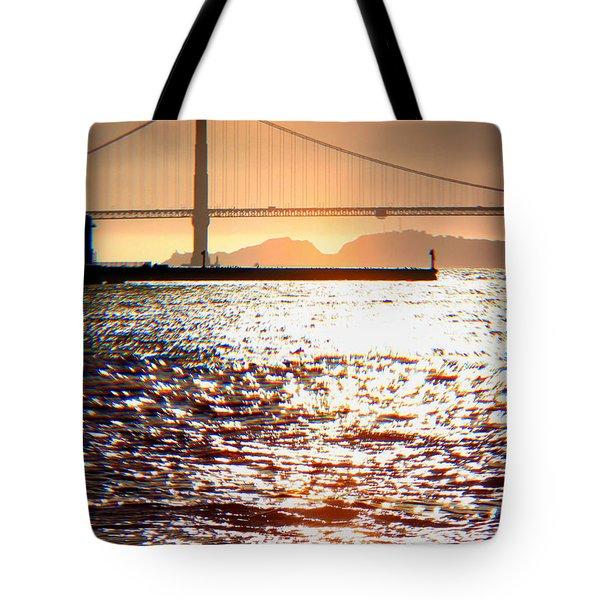 Sunset Over The Golden Gate Bridge Tote Bag by Wernher Krutein