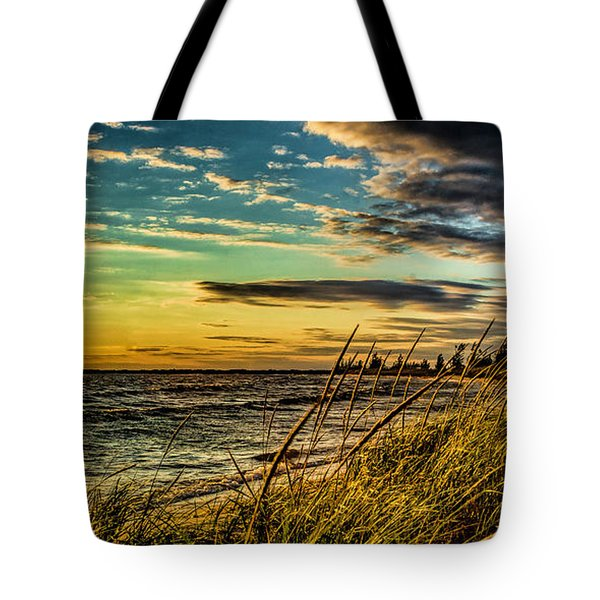 Sunset Over The Great Lake Tote Bag
