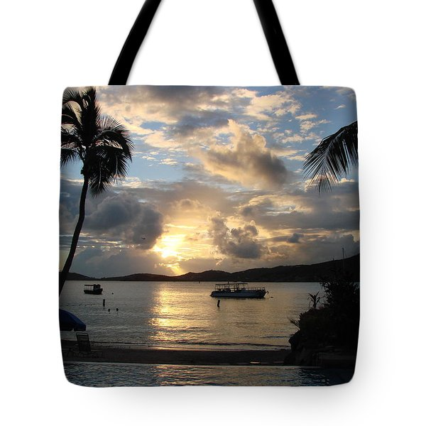 Sunset Over The Inifinity Pool At Frenchman's Cove In St. Thomas Tote Bag by Margaret Bobb