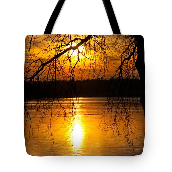 Sunset Over The Lake Tote Bag