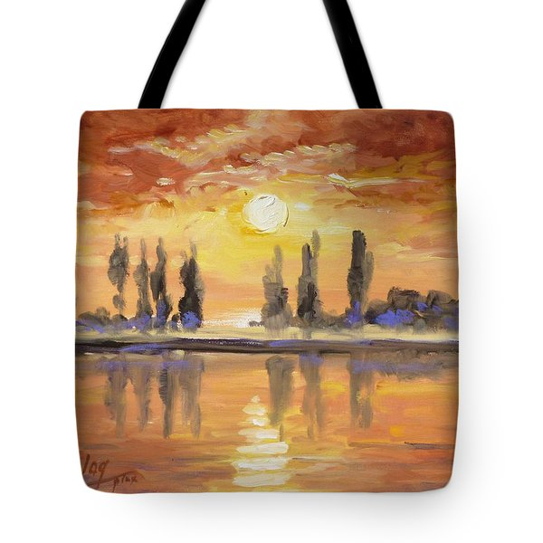 Sunset Over The Lake Tote Bag by Irek Szelag