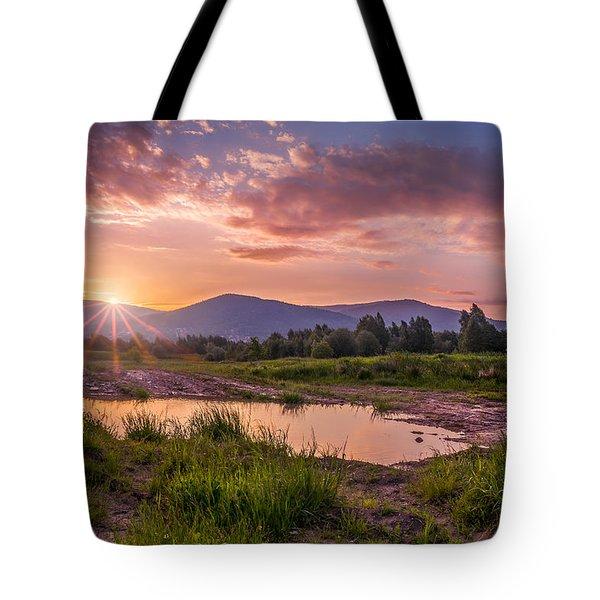 Sunrise Over The Little Beskids Tote Bag