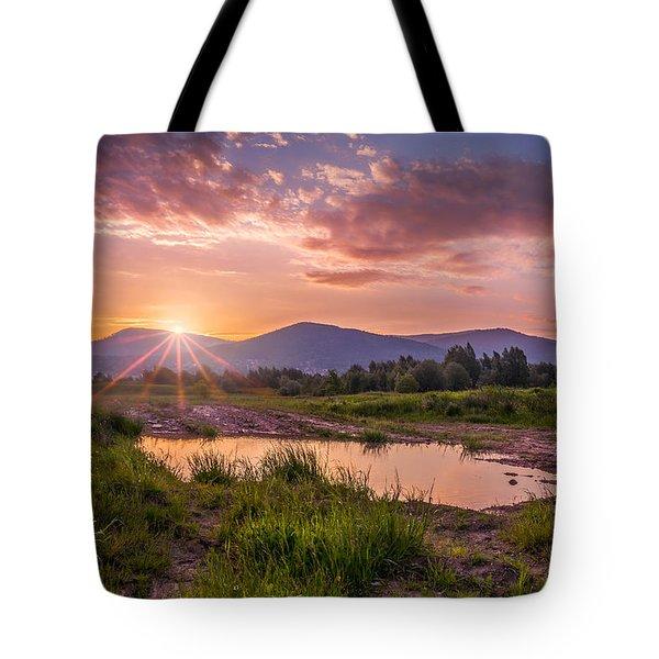 Sunrise Over The Little Beskids Tote Bag by Dmytro Korol
