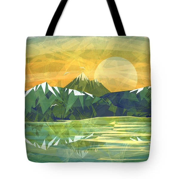 Sunset Over The Mountain  Tote Bag