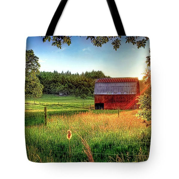Sunset Over The Old Barn Tote Bag