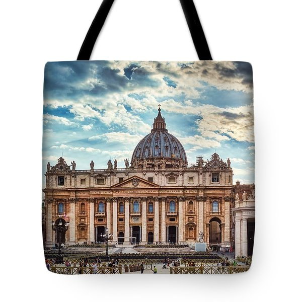 Sunset Over The Papal Basilica Of Saint Peter Tote Bag