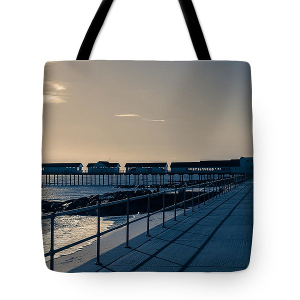 Sunset Over The Pier Tote Bag by David Warrington