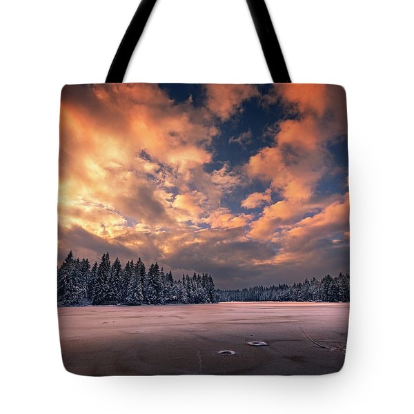 Sunset Over The Pound Tote Bag by Dominique Dubied
