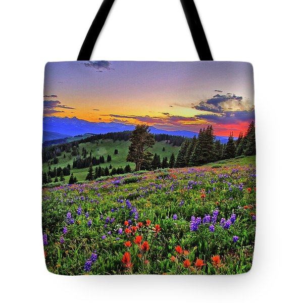 Tote Bag featuring the photograph Sunset Over The Ridge by Scott Mahon
