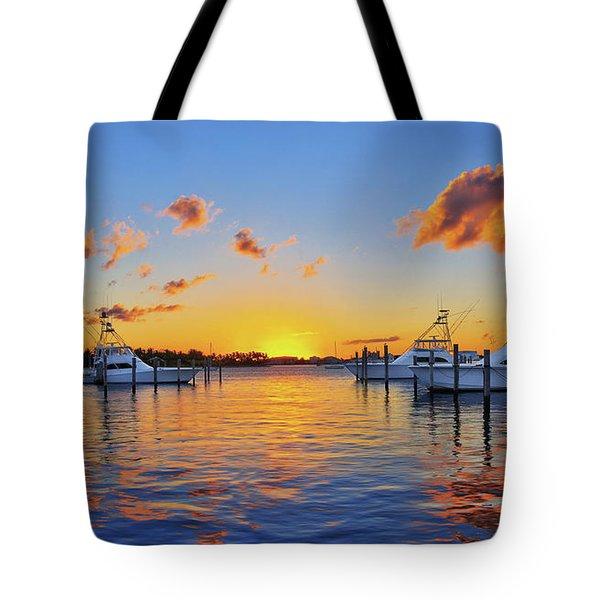 Sunset Over The Sailfish Marina In Riviera Beach Florida Tote Bag