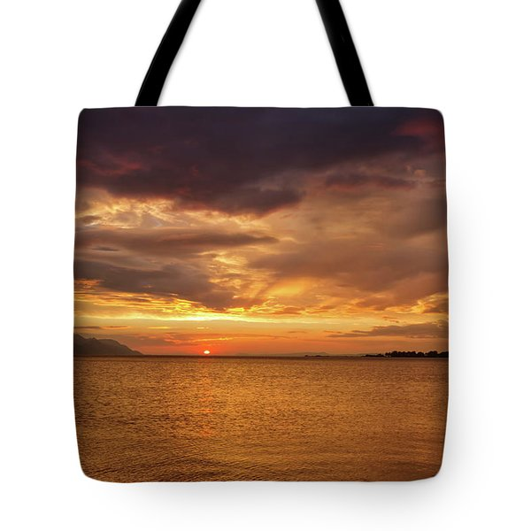 Sunset Over The Sea, Opuzen, Croatia Tote Bag by Elenarts - Elena Duvernay photo